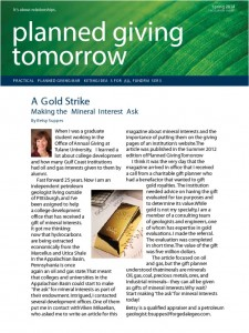 thumbnail of A Gold Strike Planned GIving Tomorrow Betsy Suppes 2014